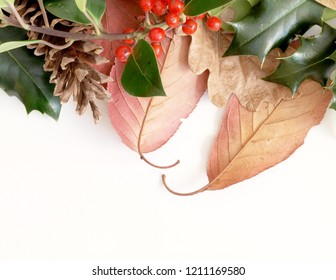 Autumn Leaves and Holly