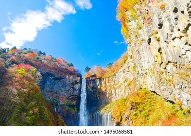 Autumn leaves at Kegon Falls, Nikko national park, Tochigi, Japan. - Shutterstock ID 1495068581
