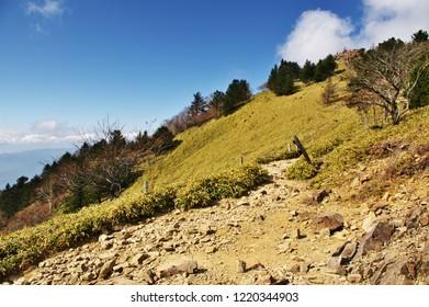 "Autumn Leaves of ""Koshu Valley"" from ""Daibosatsu"" mountain pass in Yamanashi Prefecture, Japan. Nov. 3, 2018"
