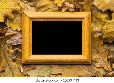 autumn leaves and old photo frame