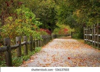Autumn leaves on Blackstone River Bikeway in Cumberland, Rhode Island