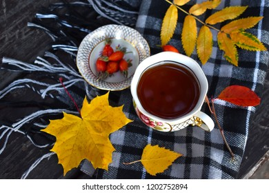 Autumn, autumn leaves on a scarf, hot cup of tea, the concept of warmth and comfort