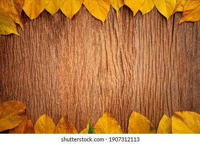 autumn leaves on vintage old wooden background, copy space
