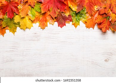 Autumn leaves on the wooden background. Copy space for text.