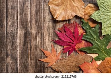 Autumn leaves on wooden background./ Autumn leaves on wooden background.