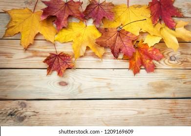 autumn leaves on wooden desk background