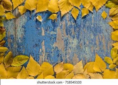 Autumn leaves  on wooden table background