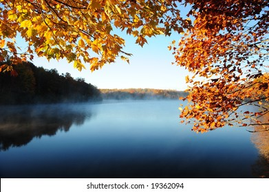 Autumn Leaves Over the Lake
