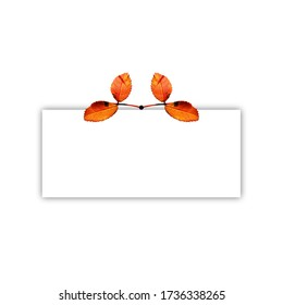 Autumn leaves placed at the top of a rectangular shape, with shadow. Useful for invitation or greeting cards.
