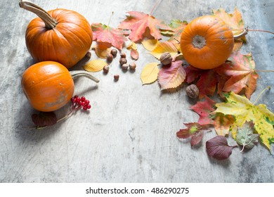 Autumn leaves and pumpkins on a wooden background/Thanksgiving day concept