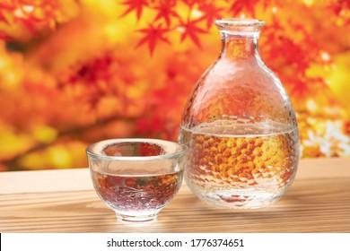 Autumn leaves, sake and sake bottles