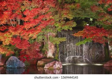 Autumn leaves and waterfall of Japanese garden at night, Kokoen garden (Koko-en), Kobe city, Hyogo, Japan.