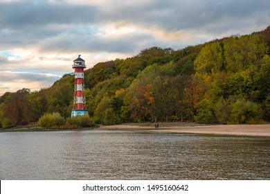 Autumn at the lighthouse Wittenbergen in Hamburg