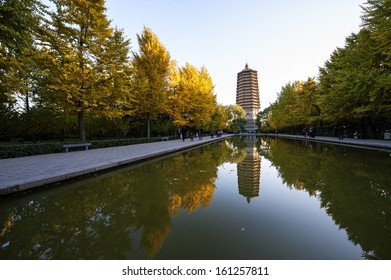The autumn of Linglong tower under the sunshine in Beijing, China.