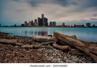 Autumn Long Exposure Landscape of the Windsor, Ontario and Detroit, Michigan Riverfronts as seen from the bank of the Detroit River