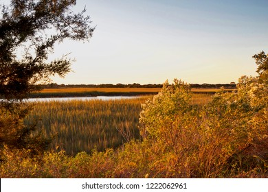 Autumn Lowcountry view of Kiawah Island, South Carolina looking out over the marshes.