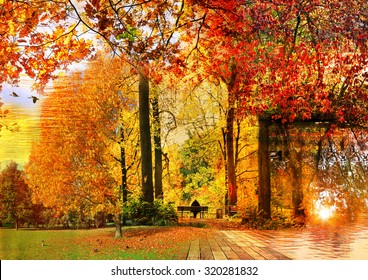 Autumn magic fantasy landscape. Autumn landscapes textured collage