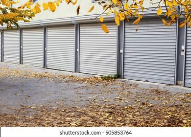 autumn metal doors of garages