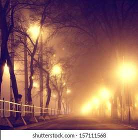 autumn mist in city