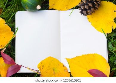 Autumn Mockup. Notebook with leaves on the grass. Top view.