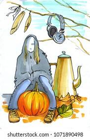autumn mood. girl - ghost