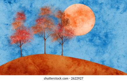 autumn moon collage with paper texture and splatter-effect foliage