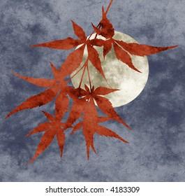 autumn moon collage, paper texture, limited palette