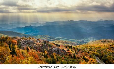 Autumn Morning light over Rough Ridge on the Blue Ridge Parkway