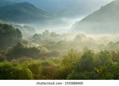 Autumn morning scenery of a secret garden in Nam-myeon, Inje-gun, Gangwon-do, Korea.