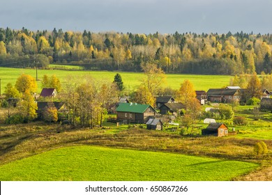 Autumn morning in the Vologda region of Russia.