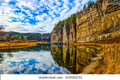 Autumn mountain forest river reflection. Mountain river reflection in autumn season. Autumn mountain river reflection. Autumn river reflection landscape