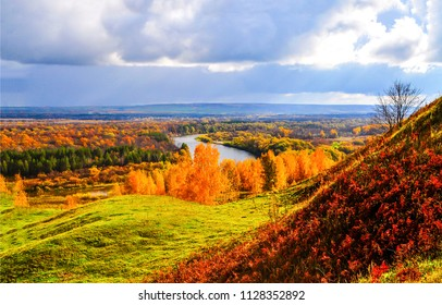 Autumn mountain forest river valley panorama