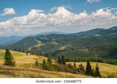 Autumn mountain hiking in summer