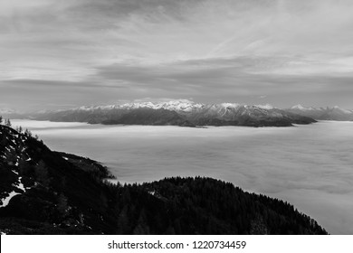 Autumn Mountain Landscape Panorama View With A Dense Blanket Of Clouds Below The Mountain Tops In Carinthia Austria