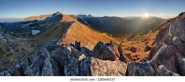 Autumn mountain landscape in Poland Tatras