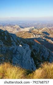Autumn mountain landscape. View of Lovcen National Park from Jezerski vrh peak. Montenegro