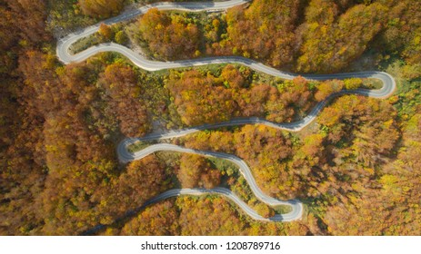 autumn mountain road view from above