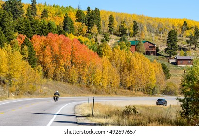 Autumn Mountain Road - An autumn view on CO Highway 119, part of Peak to Peak Scenic Byway, Colorado, USA.