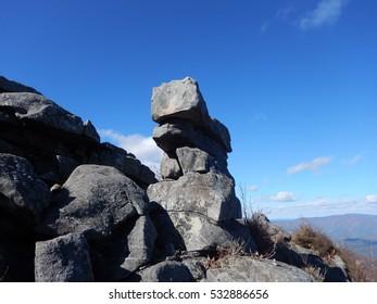 Autumn, mountain, rocks, trees