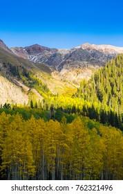Autumn mountain scenery in Telluride, Colorado, USA
