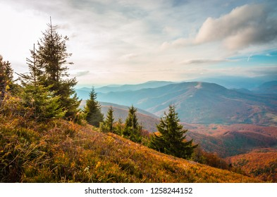 Autumn mountains in cloudly day