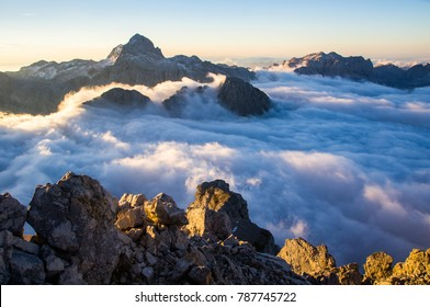 Autumn in mountains. Photo of amazing scene in European Alps. View from Mt.Razor (2601 m) towards highest peak of Slovenia, Triglav (2864 m). Triglav National Park, Julian Alps, Slovenia.