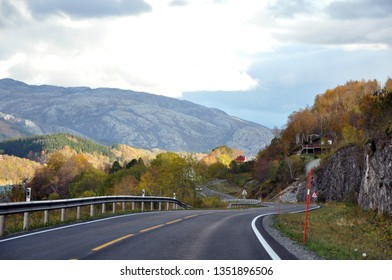 Autumn in the mountains. View from the road.