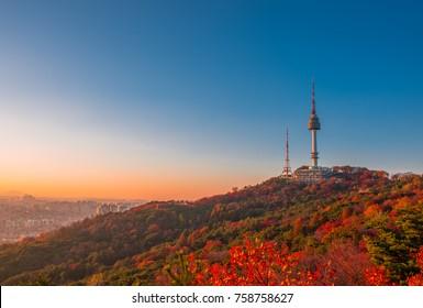 autumn at namsan moutain seoul korea