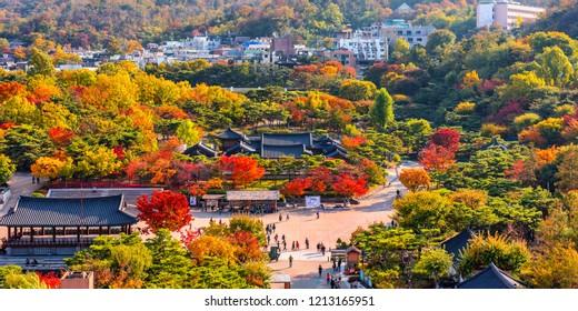 autumn at namsangol hanok village at seoul south korea