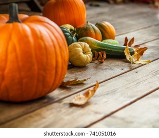 Autumn nature concept. Fall vegetables on wooden texture background.