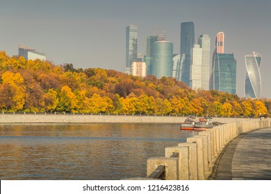 Autumn nature on the waterfront. Moscow. October