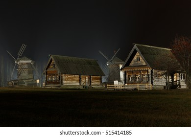 Autumn night view of the Museum of wooden architecture in Suzdal