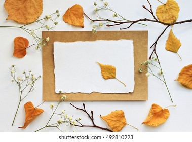 Autumn note. Craft empty paper card, yellow dried fall leaves, branches, flower. Natural decor background.