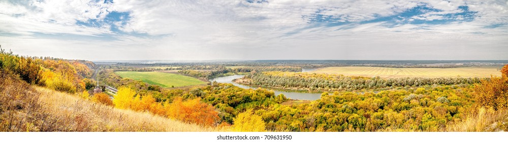 "Autumn, October. Panoramic view from the hill. Place - area in the natural architectural ""Divnogorie"". Russia, Liski Area of Voronezh Region"